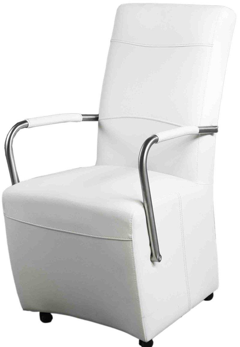 Witte eetkamerstoelen op wieltjes yogaplaya for Eetkamer stoel