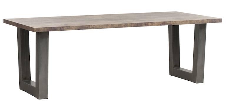 Eetkamertafel met stalen U poot 190 cm