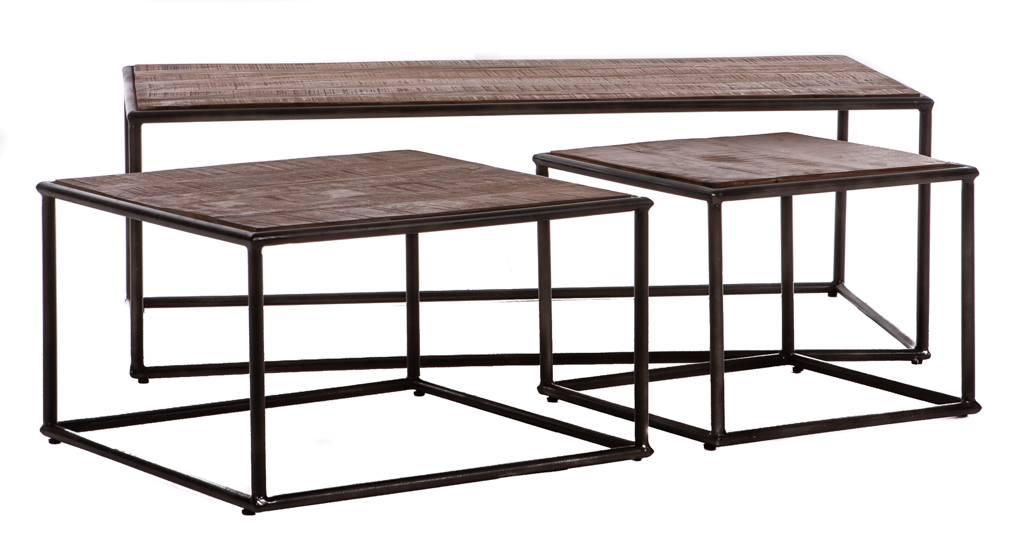 Langwerpige retro salontafel set van 3