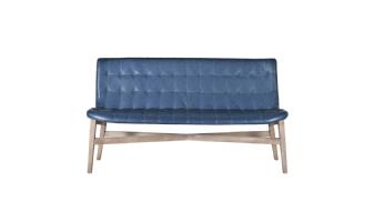 Eetkamerbank Neba met grijze poot 160 cm - blauw vintage