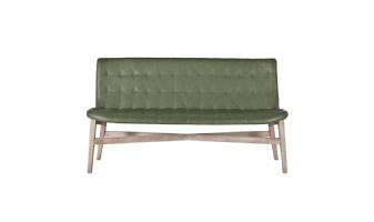 Eetkamerbank Neba met grijze poot 160 cm - groen vintage