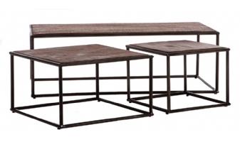 Langwerpige industriële salontafel set van 3