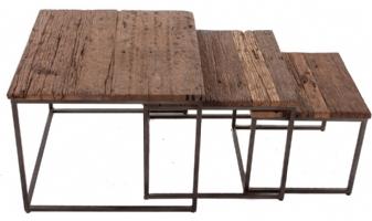 Retro salontafel set van 3 vierkant