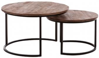 Trendy industriële salontafel set rond 2 delig