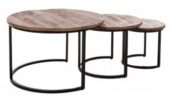 Trendy industriële salontafel set rond 3 delig