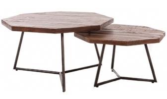 Trendy industriële salontafel set van 2 Diangi