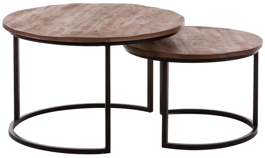 Trendy retro salontafel set rond 2 delig