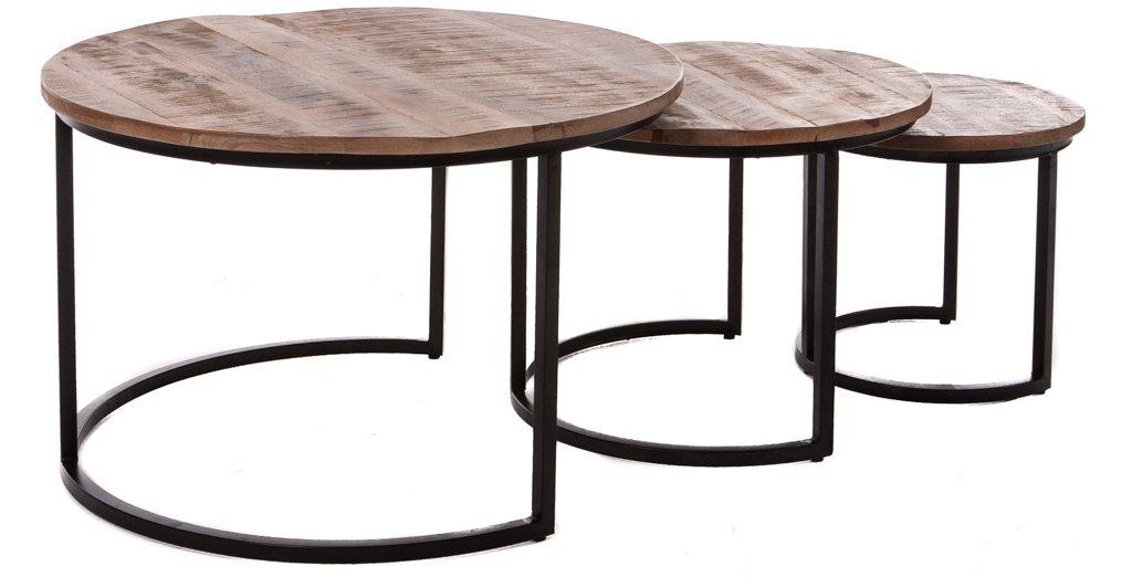 Trendy retro salontafel set rond 3 delig